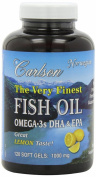 Carlson Labs Very Finest Fish Oil, Lemon, 1000mg, 120 Softgels