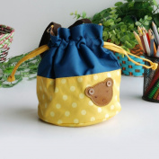 [Bear-Yellow] Blancho Applique Kids Fabric Art Bucket Bag/Bento Lunch Box/Shopper Bag