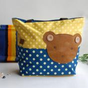 [Bear-Yellow] Blancho Applique Kids Fabric Art Tote Bag/Shopper Bag-Big Size