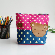 [Bear-Rosered] Blancho Applique Kids Fabric Art Mini Shopper Bag/Tote Bag-Small Size
