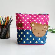 [Bear-Rosered] Blancho Applique Kids Fabric Art Mini Shopper Bag/Tote Bag-Small Size