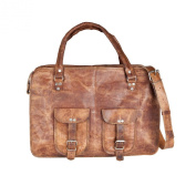 81stgeneration Genuine Leather Large Messenger Shoulder Briefcase Vintage Laptop Work Travel Bag