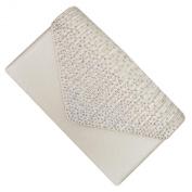 Ivory Satin and AB Crystal Box Clutch Bag