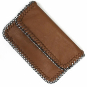 Brown Leather and Belcher Chain Foldover Clutch Bag