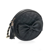 Round Quilted Black Cross Body Bag