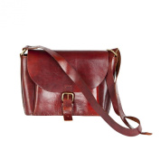81stgeneration Classic Genuine Handmade Brown Leather Handbag Shoulder Cross-Body Bag
