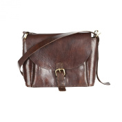 81stgeneration Classic Genuine Handmade Dark Brown Leather Handbag Shoulder Cross-Body Bag
