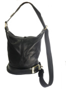 Genuine Soft Italian Leather Black Shoulder Bag, Ruck Sack or Back Pack Handbag