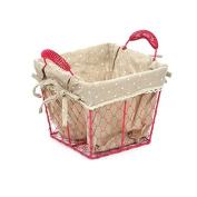 Pink Square Wire Basket With Dotty Fabric Lining