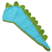 KingSo Baby Aminal Knit Costume Photography Prop Crochet Beanie Hat Cap Blue Dinasaur