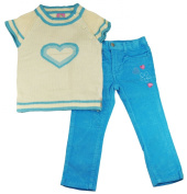 Sweet & Soft Infant Baby-Girls The Biggest Heart Sweater with Pants Set Size 18-24 Months Blues