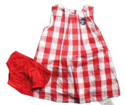 MOTHERCARE Red & White Chequered Dress & Knicker Set - 0/3 Months