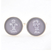 Child's Artwort Cufflinks - Grey