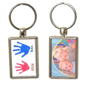 Hand or Foot Print Keyring with Photo on Reverse - White Background with Blue & Pink Prints