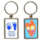 Hand or Foot Print Keyring with Child's Artwork on Reverse - White Background with Blue Prints
