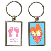 Hand or Foot Print Keyring with Child's Artwork on Reverse - White Background with Pink Prints