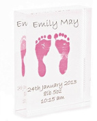 Crystal Block featuring Child's Foot Prints - Pink