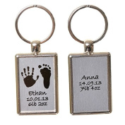 Hand or Foot Print Keyring with Photo on Reverse - Brushed Steel