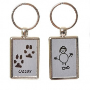 Pet Paw Print Keyring with Child's Artwork on Reverse - Brushed Steel