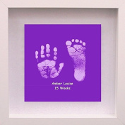 Framed Baby Hand or Foot Prints Glass Tile - Violet