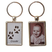 Pet Paw Print Keyring with Photo on Reverse - Brushed Steel