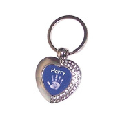 Hand or Foot Print Coloured Heart Keyring