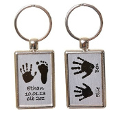 Hand or Foot Print Keyring with Different Prints on Reverse - Brushed Steel