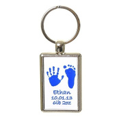 Hand or Foot Print Keyring with Different Prints on Reverse - White Background with Blue Prints
