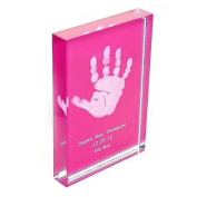 Baby Hand or Foot Prints Fused on to a Rectangle Crystal Block - Pink
