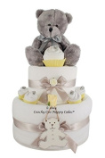 New Baby Boy Teddy Bear Cupcake Nappy Cake Baby Shower Gift FREE Delivery Two Tier