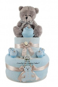 New Baby Boy Teddy Bear Cupcake Nappy Cake Baby shower Gift FREE DeliveryTwo Tier