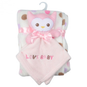 Baby Super Soft Blanket & Toy Gift Set Newborn Christening Present - Pink Owl
