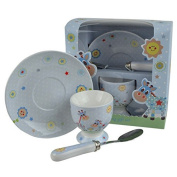 BABYS First China Little Bird & Ellie Boys EGG CUP Set by Leonardo BLUE Childs Christening