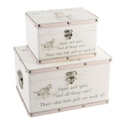 Set of 2 Baby Girls Keepsake Boxes - Storage Trunk 'What are little girls made of.'