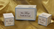 Blue Heart First Tooth and Curl Keepsake Box Set of 3