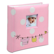 baby photo album pink white spots and a washing line print