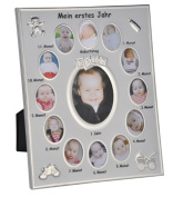 "Photo Frame with German Text ""Mein erstes Jahr"" (My First Year) for Baby Photos"