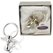 SILVER PLATED CHRISTENING DATA DUMMY GIFT SET BOX BOY GIRL ORNAMENT BIRTH NEW