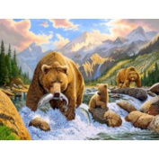 Bear Salmon Fishing Chris Hiett Small Wall Sign Gifts, and, Cards Gift Occasion, Gift, Idea