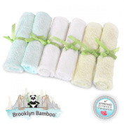 Brooklyn Bamboo Baby Washcloth / Wipes 6 Pack Organic, SOFT, Larger 25cm x 25cm Size Use With Your Favourite Baby Bathing Skin Care Products And Children's Bath Towels. SOFTEST, Most Absorbent, Durable & Sustainable Washcloths On The Planet! Gentle Eno ..