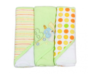 Spasilk Soft Terry Hooded Towel Set, Green Baby, 3-Count