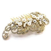 Bride Boutique Bridal Wedding Vintage Style Gold Crystal & Pearl Cluster Hair Slide Side Comb