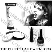 Halloween Make Up - Black Polish, Lipstick & White Powder, Foundation Set