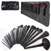 Pro 32 PCS Makeup Brush Cosmetic Set Kit Case + Black Make-up Brushes Pouch Bag