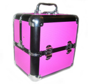Vancouver Large Cerise and Black Locking Beauty Case with Long Trays and Bottle Holders