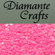 500 x 2mm Hot Pink (3) Round Candy Neon Pastel Coloured Diamante Loose Flat Back Rhinestone Nail Body Gems - created exclusively for Diamante Crafts