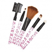 Kongkay 5 Pieces Professional Make up Brushes, High Quality Collection 5 Pcs Cosmetic Brush Set in White with PINK pattern.