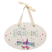 On Your Christening Hanging Wooden Plaque Decoration