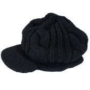 eFuture(TM) Unisex Black Warm Slouchy Cabled Knit Beanie Newsboy Hat Peaked Cap + Keyring