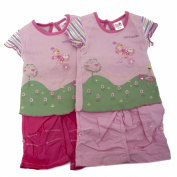 Baby Girls Embroidered Short Sleeve T-Shirt And Bottoms Clothing Set With Headband (6-9 Months)